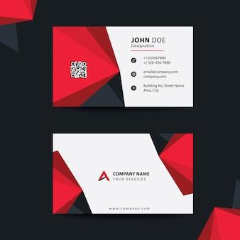 クリーンフラットデザインブラックとレッドプレミアムコーポレートビジターカード