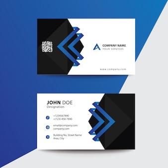 クリーンフラットデザインブルーブラックプレミアムコーポレートビジネス訪問カード