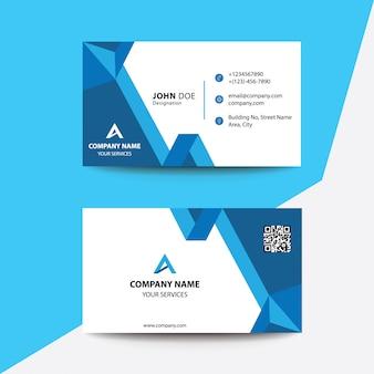 クリーンフラットデザインブルーマルチフォールドコーポレートビジネス訪問カード