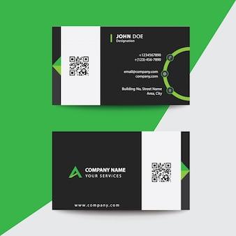 きれいなフラットデザイングリーンとブラックコーポレートビジットカード