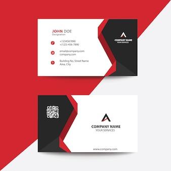 クリーンフラットデザイン赤と黒のプレミアムコーポレートビジネス訪問カード