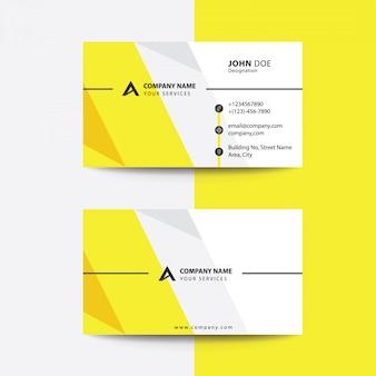 クリーンフラットプレミアムミニマルスタイルイエローグレー企業ビジネス訪問カード