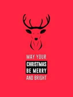 クリーンフラットトナカイクリスマスとホリデーウィッシュ招待状カードフライヤー