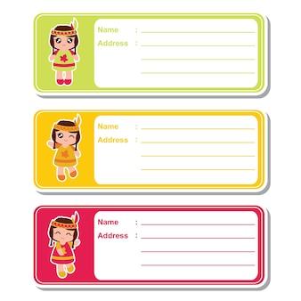 子供のアドレスラベルのデザイン、アドレスタグと印刷可能なステッカーセットに適したカラフルな背景にかわいいインドの女の子とベクトル漫画のイラスト