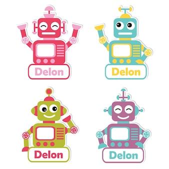 子供の名前タグのデザイン、ラベル名、および印刷可能なステッカーセットに適したカラフルなロボットのおもちゃのイラスト