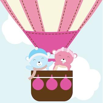 バレンタインデーカードに適した熱気球でかわいいカップルのクマとイラスト