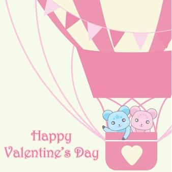 バレンタインデーに適した熱気球でかわいいクマのカップルのイラスト
