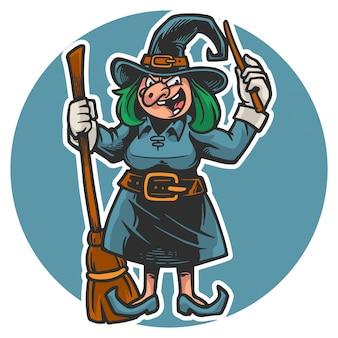 ほうきの棒と魔法の杖を保持しているハロウィーンの不気味な魔女