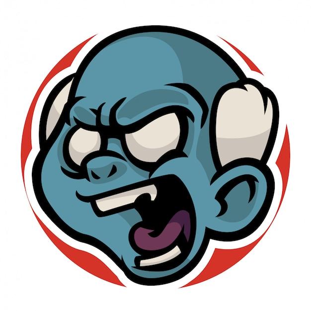 怒っている古いゾンビの頭
