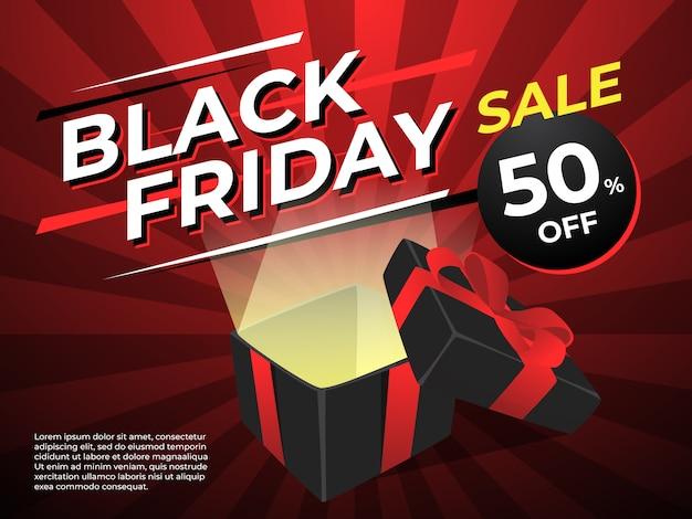 Черная реклама пятницы и черная коробка подарков с красной лентой