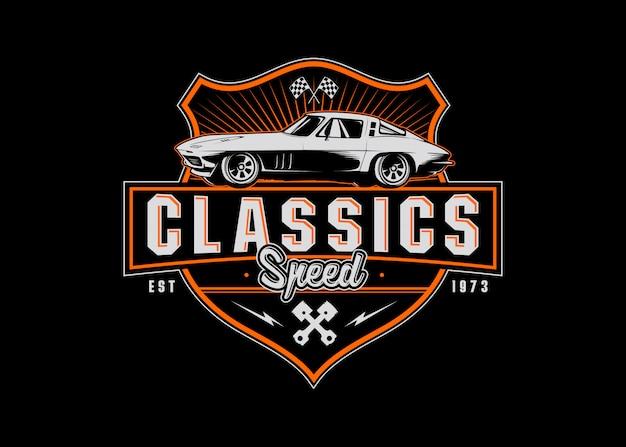 Автомобиль классический значок с логотипом спорт