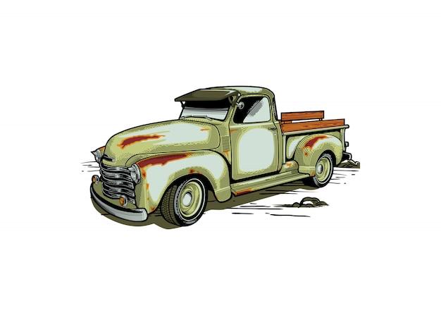 Иллюстрация стиля фермы грузовик в стиле ретро