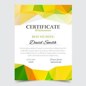 Полигональный зеленый и желтый сертификат достижения