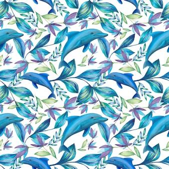 Тропический летний узор с акварельными цветами и дельфинами
