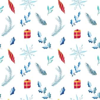 水彩クリスマスパターン