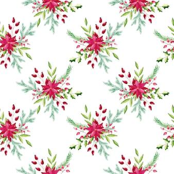 水彩クリスマスの花