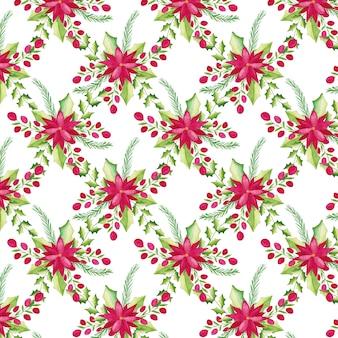 水彩クリスマスの花のパターン