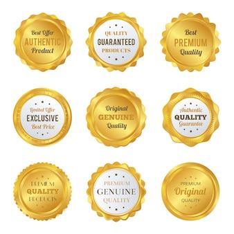 高級ゴールドバッジとラベルプレミアム品質の製品