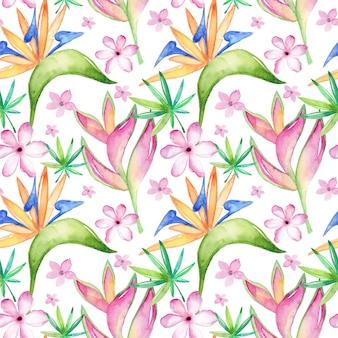花と葉を持つ水彩画の熱帯のシームレスパターン