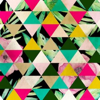 水彩花柄の幾何学