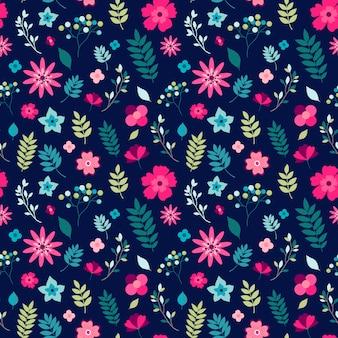 小さな花と葉のシームレス花柄