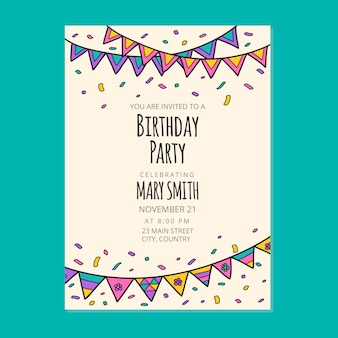 お誕生日おめでとう招待カードデザイン