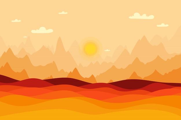 紅葉風景の背景、夕日を背景