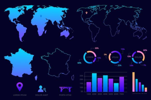 ビジネスのインフォグラフィック。世界地図、フランス地図、チャート、記号。