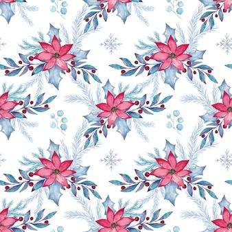 Акварель рождество цветочные бесшовные