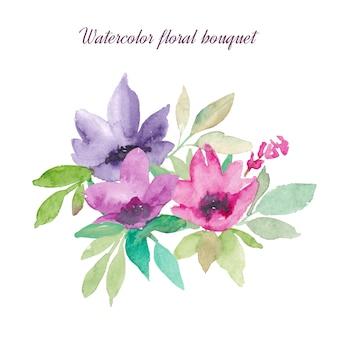 水彩花と葉の花束