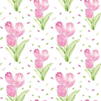 ピンクのチューリップと水彩のシームレスパターン