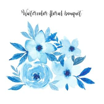 水彩の青い花の花束。モノクロ水彩画フラワーアレンジメント