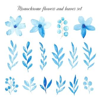 水彩の青い花と葉のセット。モノクロ水彩花セット