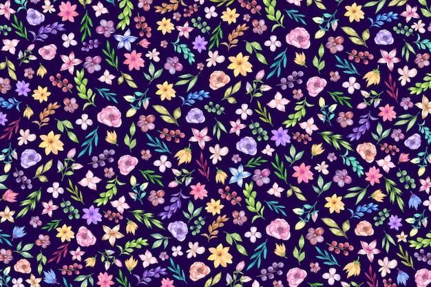 カラフルな頭が変な花柄の背景。小さな花と花の背景。
