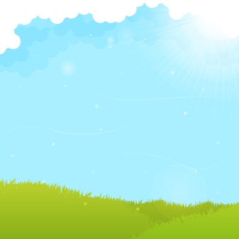 グリーンフィールドと青空の背景