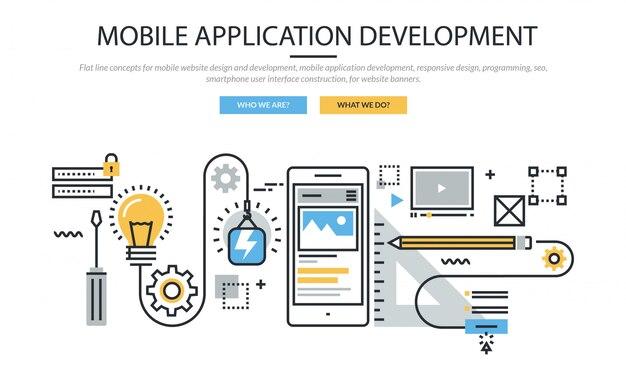 モバイルアプリケーション開発インフォグラフィックアイコンセットバナー