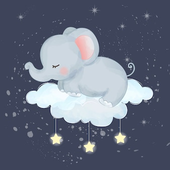 眠っている象の赤ちゃん