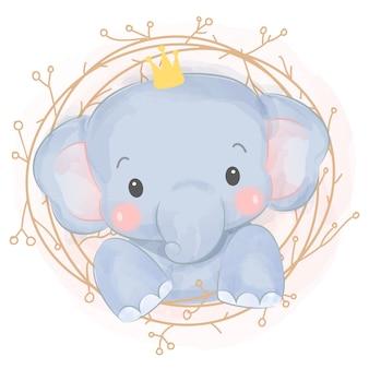 愛らしい水彩画の象の赤ちゃん