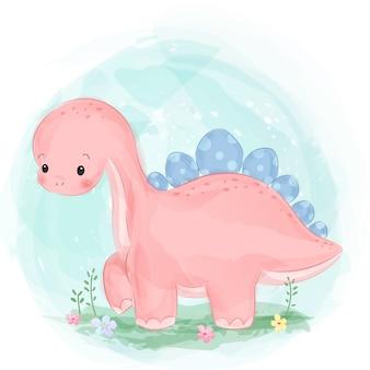 Прелестная акварель стиль розовый рисунок динозавра