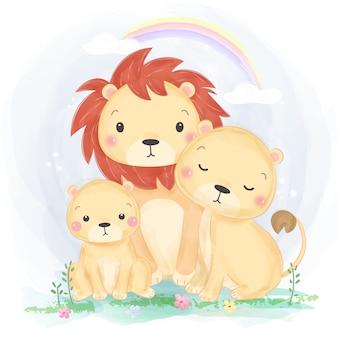 水彩風の愛らしいライオン家族イラスト
