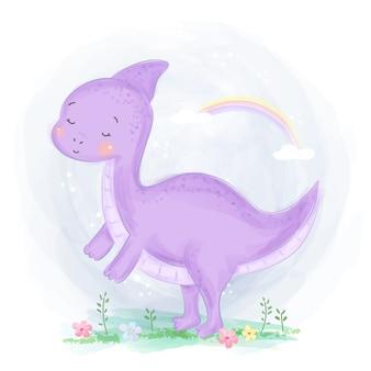 Акварель стиль фиолетовый иллюстрация динозавра