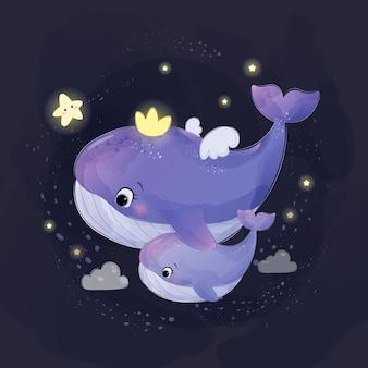 水彩風のかわいい母親と赤ちゃんクジラのイラスト
