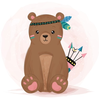 Прелестный ребенок медведь в племенном стиле. ребенок медведь в стиле акварели.