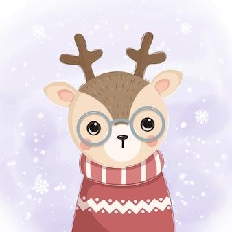 クリスマスの装飾のためのメガネイラストトナカイ