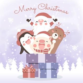Рождественская открытка с милыми мультяшными животными