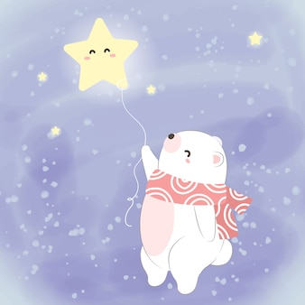 Белый полярный медведь летит в небе