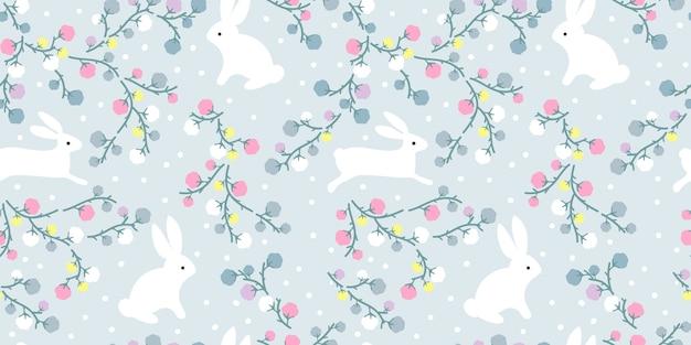 シームレスなパターンで愛らしい花とウサギのイラスト