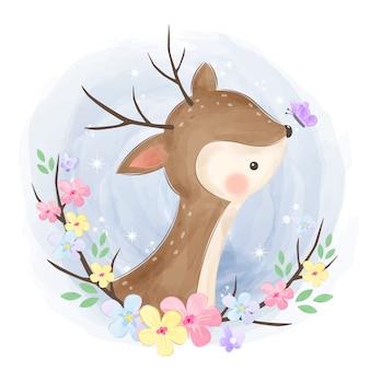 かわいい赤ちゃん鹿イラスト