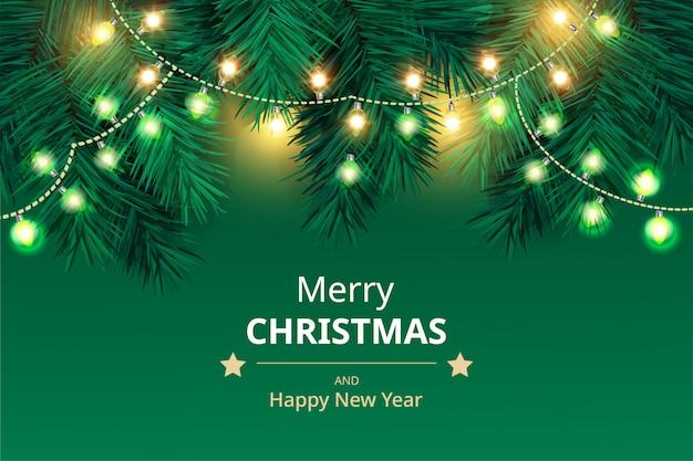 クリスマスの背景に枝、ライト