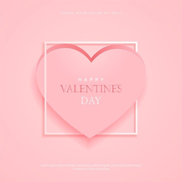 バレンタインデーの背景にピンクのハート、フレーム